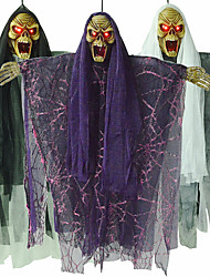 cheap -Halloween Prop Hanging Skull Ghost with Glowing Red Eyes Sound Effects Witch Decoration
