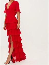 cheap -A-Line Empire Elegant Wedding Guest Formal Evening Dress V Neck Short Sleeve Floor Length Chiffon with Ruffles Tier 2021