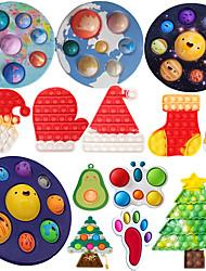 cheap -3 pcs Silicone Push Bubble Fidget Toys Hot Sensory Decompression Desktop Puzzle Decompression Squishy AntiStress Toy Christmas Gift