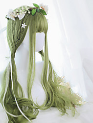 cheap -Wig Female Green Long Curly Wig With Air Bangs Girls Daily Party Cosplay Wig Heat Resistant Fiber Synthetic