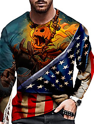 cheap -Men's Unisex T shirt 3D Print Graphic Prints American Flag Print Long Sleeve Daily Regular Fit Tops Casual Designer Big and Tall Blue