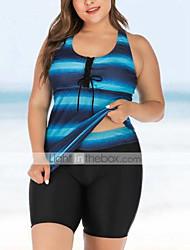 cheap -Women's Tankini 2 Piece Swimsuit Tummy Control Racerback High Waist Color Block Blue Navy Blue Plus Size Swimwear Bathing Suits New / Slim / Padded Bras / Beach