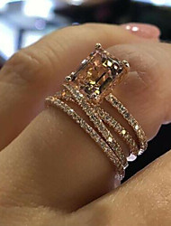 cheap -Ring 3D Rose Gold Copper Rhinestone Glass Precious Fashion 1pc 7 8 9 / Women's / Engagement Ring / Rose Gold Plated