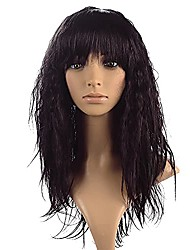 cheap -wavy curly wigs with air bangs full heat resistant synthetic wig fake hair replacement curly wig natural adjustable cosplay halloween party costume wigs for women (19'', wine)