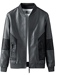 cheap -Men's Jacket Street Daily Going out Fall Regular Coat Zipper Stand Collar Regular Fit Thermal Warm Breathable Sporty Casual Jacket Long Sleeve Plain Pocket Patchwork Gray Black / Outdoor