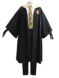 cheap -Harry Potter Hufflepuff Outfits Masquerade Men's Movie Cosplay Vacation Halloween Black Blouse Pants Cloak Halloween Carnival Masquerade Polyester / Tie / Tie