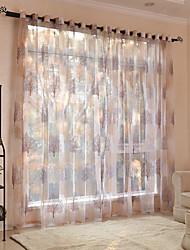 cheap -Window Curtain Window Treatments Semi Sheer 2 Panels Sheer Voile Grommet Floral/Flower for Living Room Bedroom