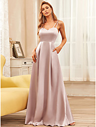 cheap -A-Line Minimalist Vintage Prom Formal Evening Dress V Neck Sleeveless Floor Length Satin with Draping 2021