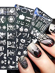 cheap -6 pcs Halloween Nail Stamping Plates Snowflake Festival Pattern Nail Art Image Plates Nail Art Stencil Nail Template Plate