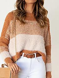 cheap -Women's Sweater Knitted Color Block Stylish Long Sleeve Sweater Cardigans Crew Neck Fall Winter Blushing Pink Khaki Green