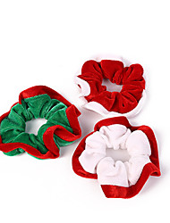 cheap -3 Pieces Mixed Color Flannel Christmas Large Intestine Circle European And American Simple Mini Hair Accessories