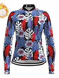 cheap -21Grams Women's Long Sleeve Cycling Jersey Winter Fleece Spandex Blue Tropical Flowers Bike Top Mountain Bike MTB Road Bike Cycling Fleece Lining Warm Moisture Wicking Sports Clothing Apparel