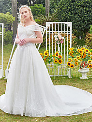 cheap -Princess Ball Gown Wedding Dresses Off Shoulder Cathedral Train Lace Tulle Sleeveless Formal Romantic Luxurious Sparkle & Shine Plus Size with Beading Sequin 2021