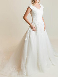 cheap -A-Line Wedding Dresses V Neck Court Train Lace Tulle Short Sleeve Romantic Luxurious with Appliques 2021