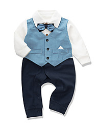 cheap -Baby Boys' Jumpsuits Active Casual Street Style Street Formal Indoor Cotton Blue Blue & White Solid Color Patchwork Bow Print Long Sleeve / Fall / Winter / Holiday