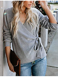 cheap -Women's Cardigan Sweater Modern Style Classic Photo Solid Color Sexy Lady type V Sex Long Sleeve Sweater Cardigans V Neck Fall Winter Spring Grey Black Beige