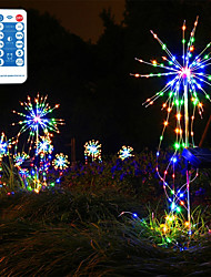 cheap -LED Solar Starburst Light 1pcs 200 LEDs Remote Control Outdoor Garden Decoration Fairy Lights IP65 Waterproof String Light Patio Decor Copper Wire Garland