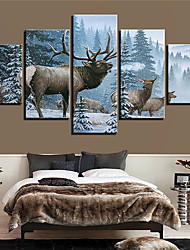 cheap -5 Panels Wall Art Canvas Prints Painting Artwork Picture Landscape Animal Snow ReinHome Decoration Decor Rolled Canvas No Frame Unframed Unstretched