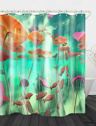 cheap -Beautiful Water Plants Printed Waterproof Fabric Shower Curtain Bathroom Home Decoration Covered Bathtub Curtain Lining Including hooks.