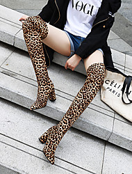 cheap -Women's Boots Chunky Heel Round Toe Over The Knee Boots Party Daily Faux Leather Animal Patterned Purple Gray Black