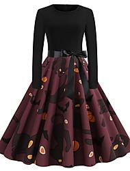 cheap -Women's Swing Dress Knee Length Dress Black Long Sleeve Fox Pumpkin Shaped Bow Print Fall Winter Round Neck Vintage Christmas Halloween 2021 S M L XL XXL