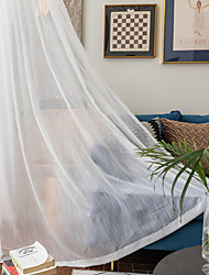 cheap -Window Curtain Window Treatments Semi Sheer White 2 Panels Sheer Voile Grommet Striped for Living Room Bedroom