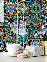 cheap -12pcs 15*15CM European Style Thick Tile Self-adhesive Paper Blue Mandala Kitchen Oil-proof And Waterproof Removable Wall Stickers
