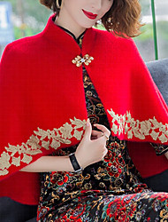 cheap -Half Sleeve Elegant Fauxfur Party Evening Women's Wrap With Appliques