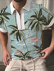 cheap -Men's Golf Shirt Flamingo Coconut Tree Zipper Print Short Sleeve Street Tops Sportswear Casual Fashion Comfortable Blue