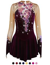 cheap -Figure Skating Dress Women's Girls' Ice Skating Dress Yan pink Amethyst Violet Flower Spandex High Elasticity Competition Skating Wear Warm Handmade Jeweled Rhinestone Long Sleeve Ice Skating Figure