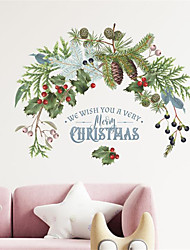 cheap -Christmas Pine Branches Pine Cones Green Plants Window Glass Decorative Wall Stickers 37*28cm