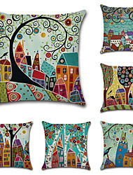 cheap -Set of 6 Botanical Bohemian Style Retro Cotton Faux Linen Decorative Square Throw Pillow Covers Set Cushion Case for Sofa Bedroom Car Outdoor Cushion for Sofa Couch Bed Chair