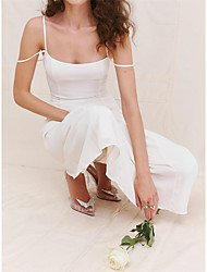 cheap -A-Line Wedding Dresses Square Neck Spaghetti Strap Ankle Length Chiffon Sleeveless Country Simple with Solid Color 2021