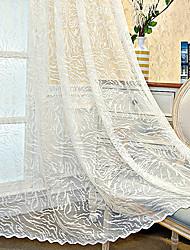 cheap -Window Curtain Window Treatments Semi Sheer White 2 Panels Sheer Voile Grommet Geometric For Living Room Bedroom
