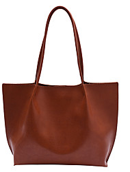 cheap -Women's Bags PU Leather Tote Zipper Vintage Daily Office & Career Handbags Black Red Brown Coffee