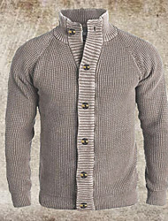 cheap -Men's Unisex Cardigan Knitted Solid Color Stylish Vintage Style Long Sleeve Sweater Cardigans Stand Collar Fall Winter Large amount of spot long-term supply khaki