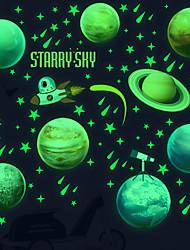 cheap -luminous solar system planetary wall sticker children's room decoration fluorescent wall sticker cartoon green light sticker