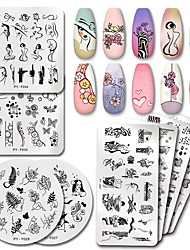 cheap -5 Pcs Rose Flower Nail Stamping Plates Line Pictures Nail Art Plate Stamp Template Marble Leaves Image Printing Plates Tools