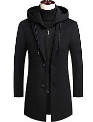 cheap -Men's Trench Coat Overcoat Street Business Daily Fall Winter Spring Regular Coat Single Breasted One-button Zipper Notch lapel collar Regular Fit Thermal Warm Windproof Warm Wrinkle Reduction