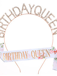 cheap -1 Piece Fashion Birthday Queen Headband Crown Strap Set Printing Birthday Queen Birthday Belt