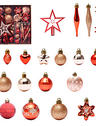 cheap -58 Pcs/set Of Painted Christmas Ball Set Gift Package Christmas Tree Pendant Christmas Decoration