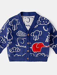 cheap -Baby Boys' Coat Active Basic Indoor Outdoor Cotton Blue Beige Fantastic Beasts Print Animal Patterned Animal Print Long Sleeve / Fall / Spring