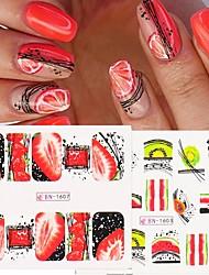 cheap -12pcs Fruits Nail Art Stickers Strawberry Lemon Painted Designs Nail Water Decals Wraps Sliders Foils Decorations