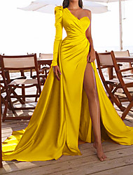 cheap -Women's Swing Dress Maxi long Dress Yellow Fuchsia White Long Sleeve Solid Color Split Ruched Lace up Fall Winter One Shoulder Elegant Sexy Party Regular Fit 2021 S M L XL XXL 3XL / Party Dress
