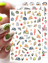cheap -4 pcs Flower Leaf Tree Green 3D Bronzing Nail Art Stickers Black White Sliders Summer DIY Decals for Nail Art Decoration