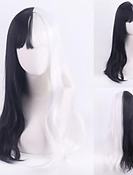 cheap -101 Dalmatians Cruella De Vil Cosplay Wigs Women's With Bangs / Heat Resistant Fiber Natural Straight Black Adults' Anime Wig