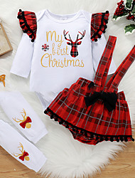 cheap -2 Pieces Baby Girls' T-shirt & Shorts Clothing Set Active Fashion Christmas Red Plaid Letter Animal Patchwork Print Long Sleeve Regular