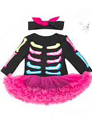 cheap -Baby Girls' Halloween Jumpsuits Casual Daily Halloween Weekend Black Black & Red Color Block Patchwork Lace Trims Long Sleeve