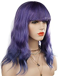 cheap -short bob wavy wig with air bangs full heat resistant synthetic wig for women hair replacement wig for party cosplay body wavy (ombre blue)