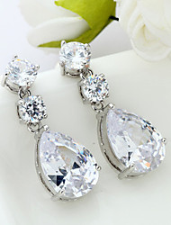 cheap -Women's AAA Cubic Zirconia Earrings Pear Cut Flower Stylish Luxury Elegant Romantic Vintage Earrings Jewelry Silver For Gift Daily Holiday 1 Pair
